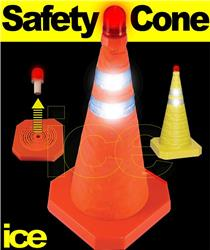 Portable Emergency Collapsible Retractable Pop-Up ORANGE Traffic Hazard Warning Safety Cone with Flashing Red LED Beacon Light