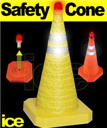 Portable Emergency Collapsible Retractable Pop-Up YELLOW Traffic Hazard Warning Safety Cone with Flashing Red LED Beacon Light